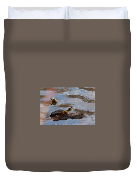 2017 Painted Turtle Duvet Cover by Edward Peterson