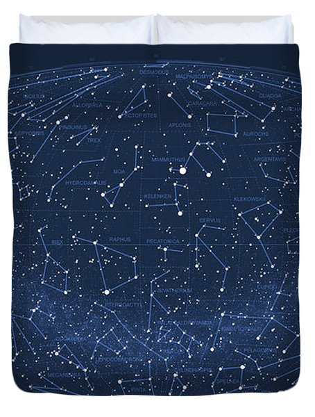 2017 Pi Day Star Chart Hammer/aitoff Projection Duvet Cover by Martin Krzywinski