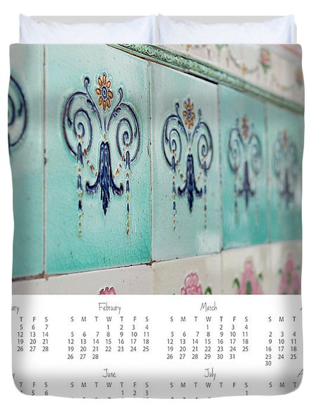 Duvet Cover featuring the photograph 2017 Wall Calendar Blue Ceramic Tiles by Ivy Ho