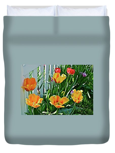 Duvet Cover featuring the photograph 2018 Acewood Tulips Against The White Fence 1 by Janis Nussbaum Senungetuk