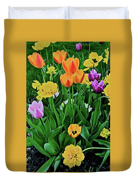 Duvet Cover featuring the photograph 2018 Acewood Tulips Galore by Janis Nussbaum Senungetuk