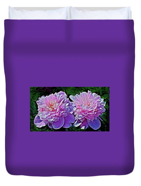Duvet Cover featuring the photograph 2018 Anniversary Peonies by Janis Nussbaum Senungetuk