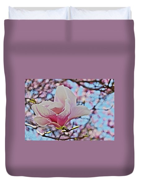 Duvet Cover featuring the photograph 2018 Vernon Magnolias 1 by Janis Nussbaum Senungetuk