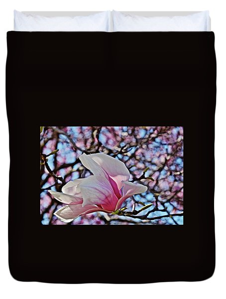 Duvet Cover featuring the photograph 2018 Vernon Magnolias 2 by Janis Nussbaum Senungetuk