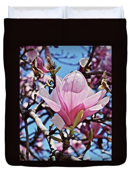 Duvet Cover featuring the photograph 2018 Vernon Magnolias 6 by Janis Nussbaum Senungetuk