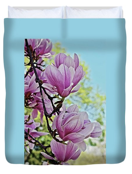Duvet Cover featuring the photograph 2018 Vernon Magnolias 7 by Janis Nussbaum Senungetuk