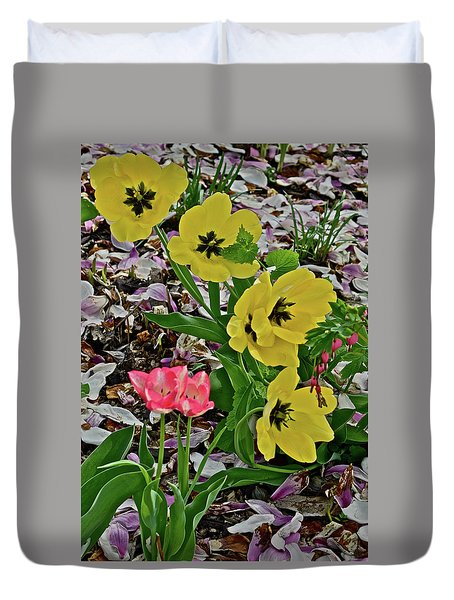 Duvet Cover featuring the photograph 2018 Vernon Tulips 2 by Janis Nussbaum Senungetuk