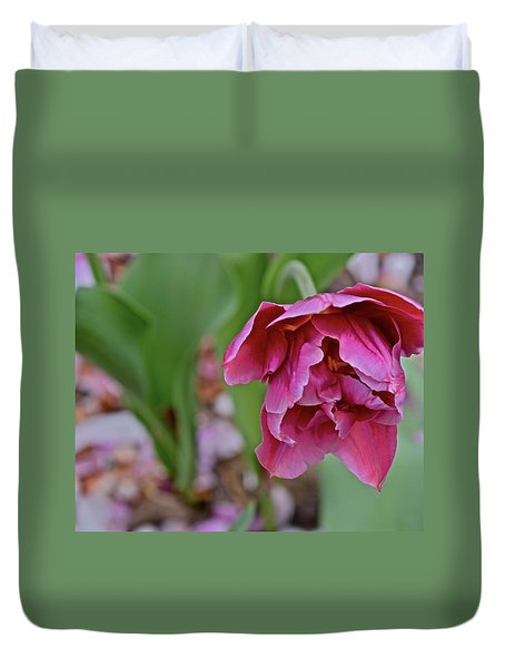 Duvet Cover featuring the photograph 2018 Vernon Tulips 3 by Janis Nussbaum Senungetuk