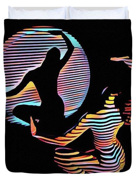 2039s-mak Female Figure In Spotlight Rendered In Composition Style Duvet Cover