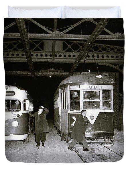 207th Street Crosstown Trolley Duvet Cover