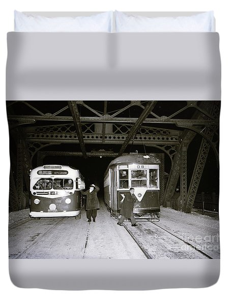 207th Street Crosstown Trolley Duvet Cover