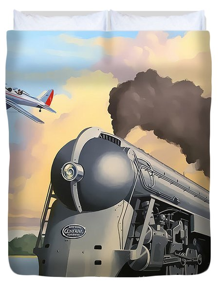 20th Century Limited And Plane Duvet Cover by Chuck Staley
