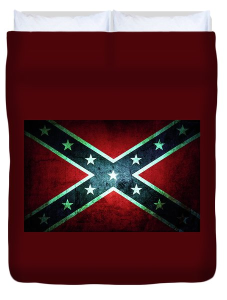 Duvet Cover featuring the photograph Confederate Flag by Les Cunliffe