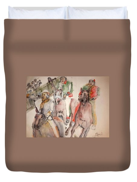 Duvet Cover featuring the painting Il Palio Contrada  Lupa Album by Debbi Saccomanno Chan