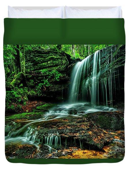 West Virginia Waterfall Duvet Cover