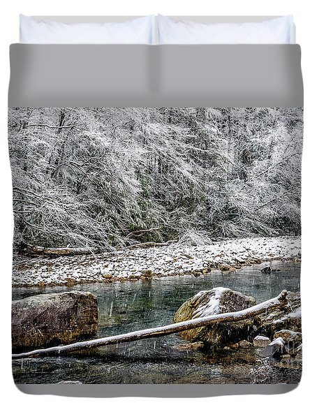 Duvet Cover featuring the photograph Winter Along Cranberry River by Thomas R Fletcher