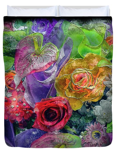 21a Abstract Floral Painting Digital Expressionism Duvet Cover