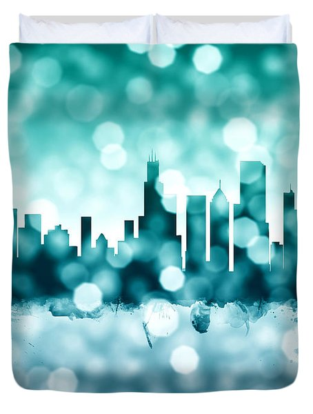 Chicago Illinois Skyline Duvet Cover by Michael Tompsett