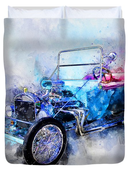 23 Model T Hot Rod Watercolour Illustration Duvet Cover