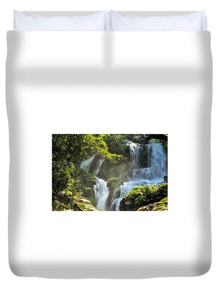 Duvet Cover featuring the photograph Waterfall Scenery by Carl Ning