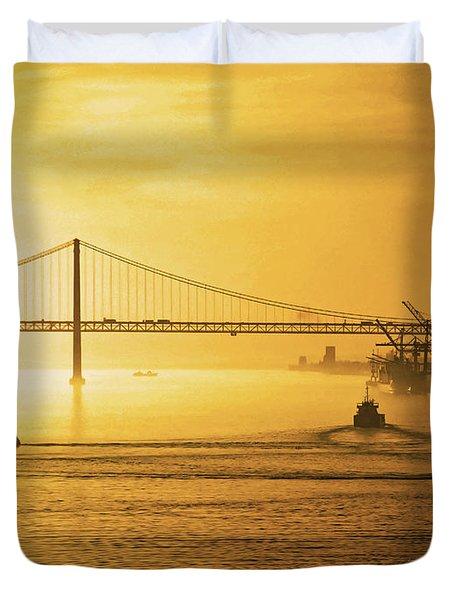 25 April Bridge River Tagus Lisbon At Sunset Duvet Cover