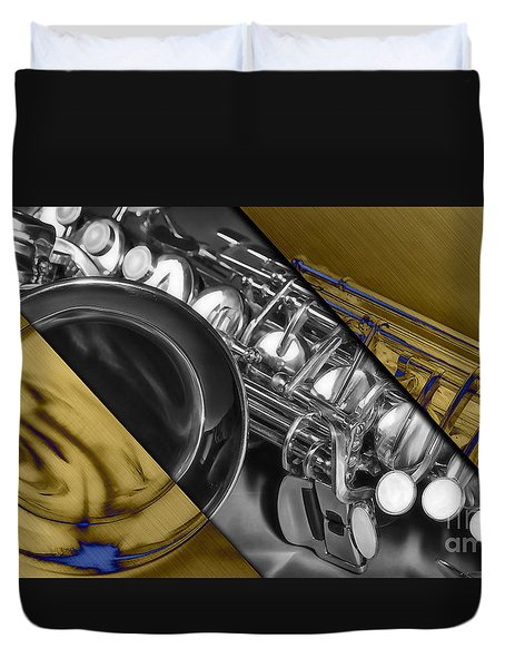 Saxophone Collection Duvet Cover by Marvin Blaine