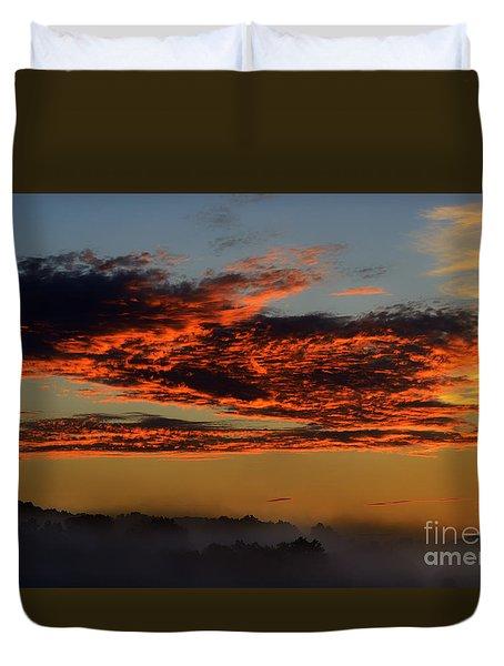 Misty Mountain Sunrise Duvet Cover
