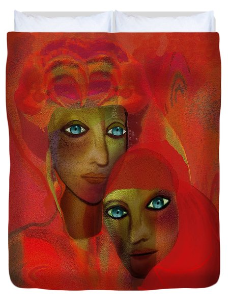 260 - Women In Red  Cothing A... Duvet Cover
