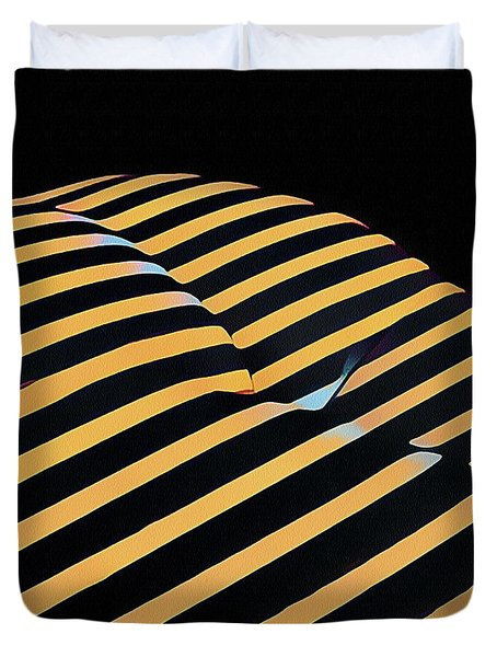 2612s-ak Abstract Rear Butt Bum Thighs Zebra Striped Woman In Composition Style Duvet Cover