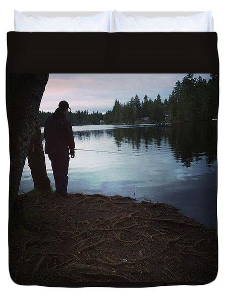 Fishing At Dusk Duvet Cover by Brianna Fulghum-Behen