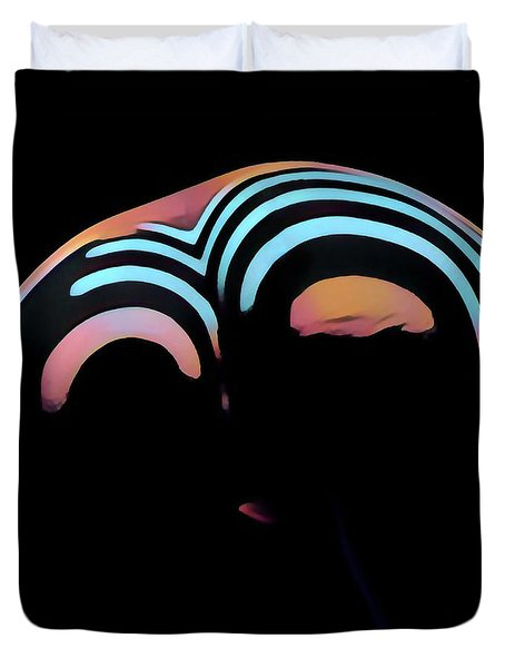 2696s-ak Zebra Striped Woman Rear View In Composition Style Duvet Cover