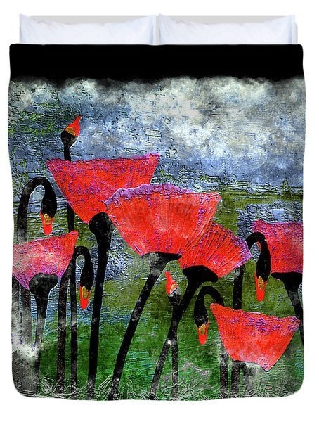 26a Abstract Floral Red Poppy Painting Duvet Cover