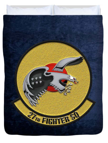 Duvet Cover featuring the digital art 27th Fighter Squadron - 27 Fs Over Blue Velvet by Serge Averbukh