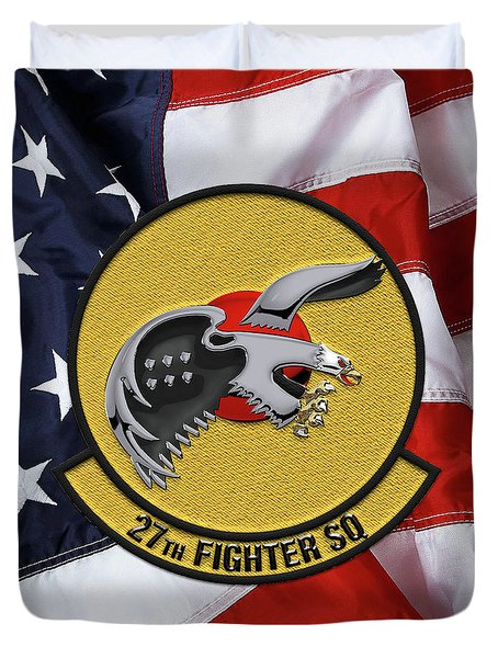 Duvet Cover featuring the digital art 27th Fighter Squadron - 27 Fs Patch Over American Flag by Serge Averbukh