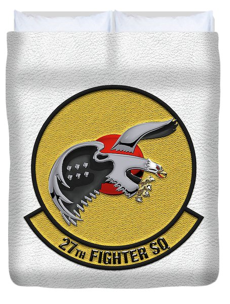 Duvet Cover featuring the digital art 27th Fighter Squadron - 27 Fs Patch Over White Leather by Serge Averbukh