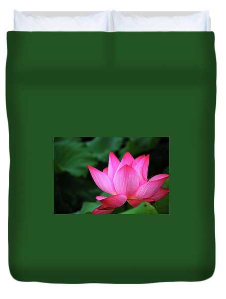 Duvet Cover featuring the photograph Blossoming Lotus Flower Closeup by Carl Ning