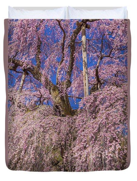 Duvet Cover featuring the photograph Miharu Takizakura Weeping Cherry25 by Tatsuya Atarashi