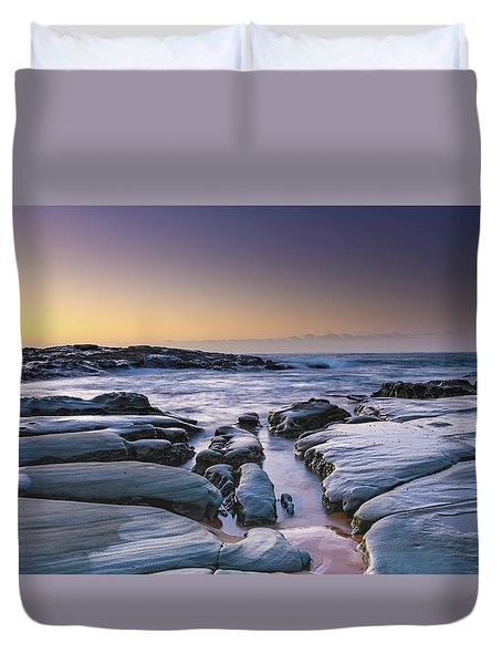 Sunrise Seascape And Rock Platform Duvet Cover