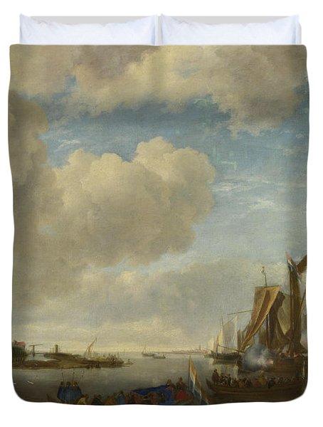 A River Scene With A Dutch Yacht Firing A Salute Duvet Cover