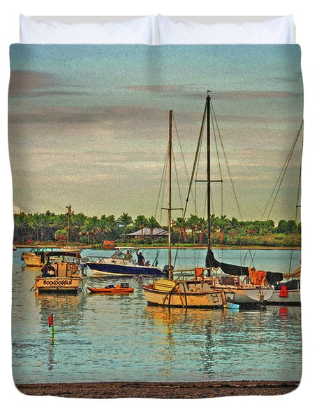 Duvet Cover featuring the digital art 3- Anchored Out by Joseph Keane