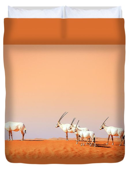 Duvet Cover featuring the photograph Arabian Oryx by Alexey Stiop