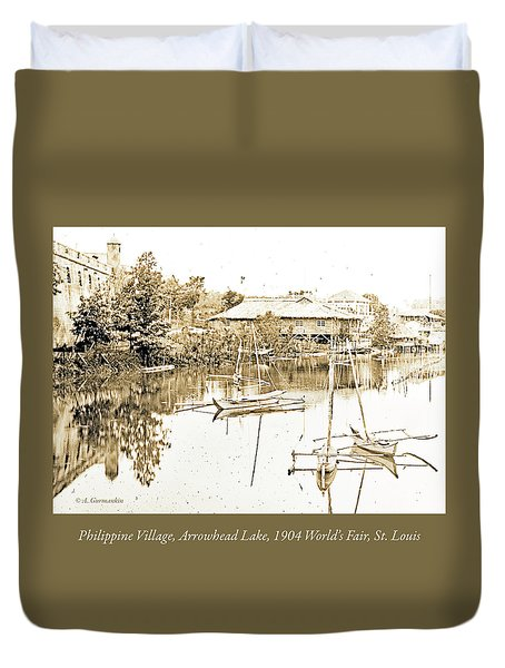 Arrow Head Lake, Philippine Village, 1904 Worlds Fair, Vintage P Duvet Cover