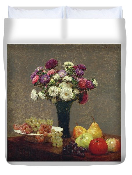 Asters And Fruit On A Table Duvet Cover