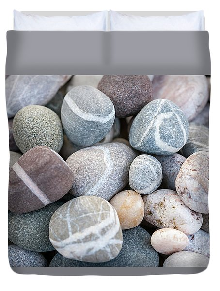 Duvet Cover featuring the photograph Beach Pebbles by Elena Elisseeva