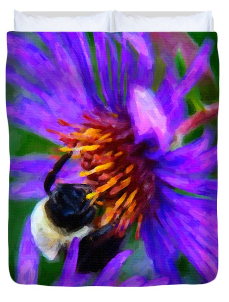 Bee On Purple Flower Duvet Cover by Andre Faubert