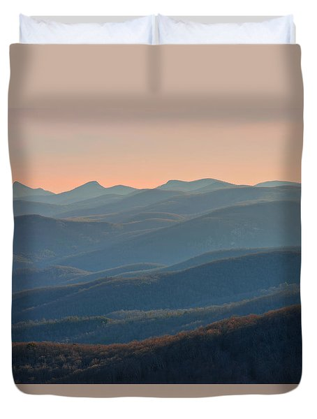 Duvet Cover featuring the photograph Blue Ridge Mountains Sunset  by Ray Devlin