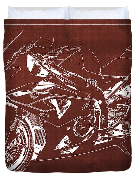 Bmw Hp4 2013 Blueprint Motorcycle, White Line, Vintage Background Duvet Cover