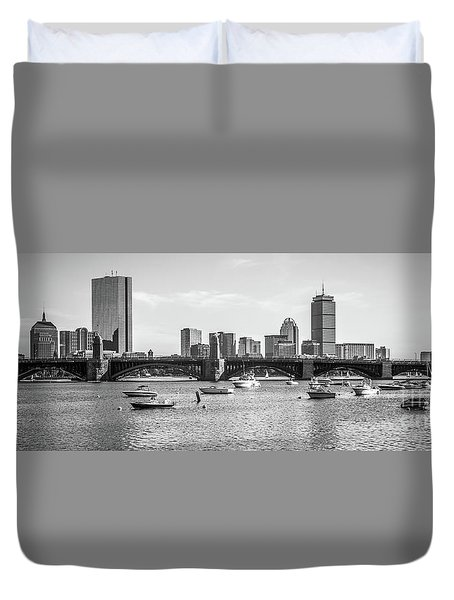 Boston Skyline Black And White Photo Duvet Cover