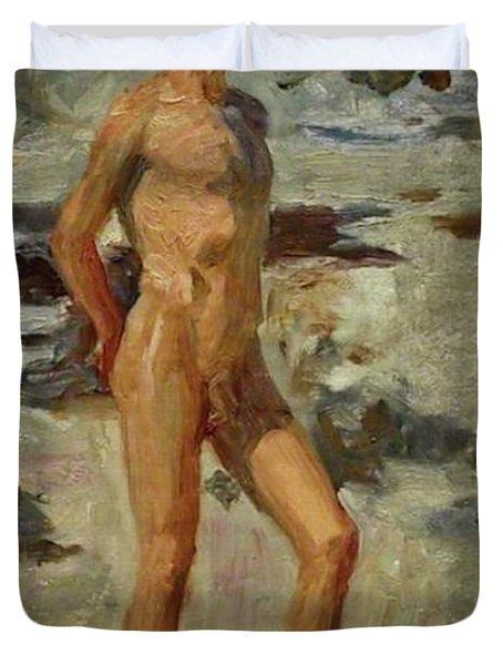 Boy On A Beach Duvet Cover