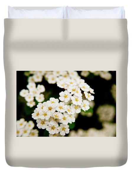 Duvet Cover featuring the photograph Bridal Veil Spirea by Brenda Jacobs